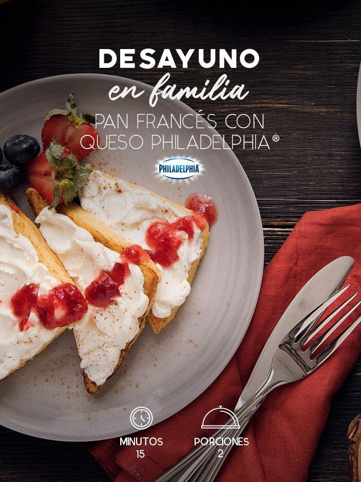 Disfruta de un desayuno acompañada de las personas que quieres con este Pan francés con Queso Philadelphia®.  #recetas #receta #quesophiladelphia #philadelphia #crema #quesocrema #queso #comida #cocinar #cocinamexicana #recetasfáciles #desayuno #pan #panfrancés #mermelada #fresa #recetasdesayuno #recetasligeras #frutas #recetasconPhiladelphia
