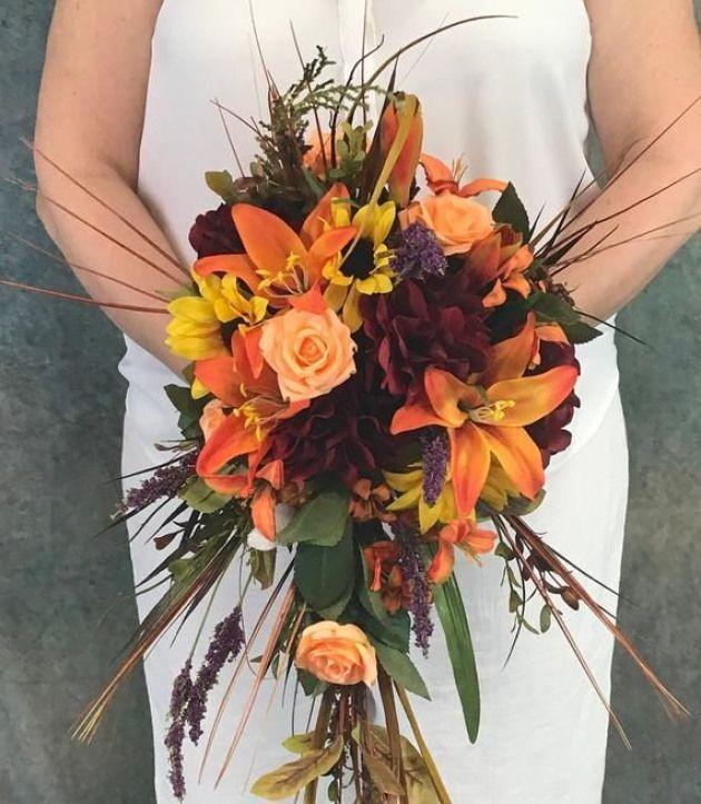 Herbst Cascading Silk Brautstrauß-Mandarine Lilien-Crimson Hydrangeas-Sunflow …   – womanpage