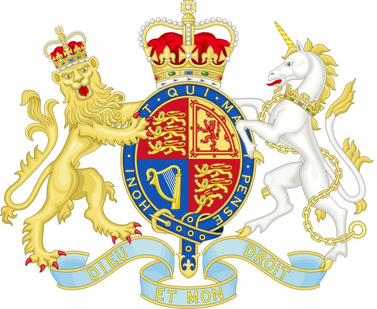 Royal Coat of Arms of the United Kingdom of Great Britain and Northern Ireland in the style used by Her Majesty's Government