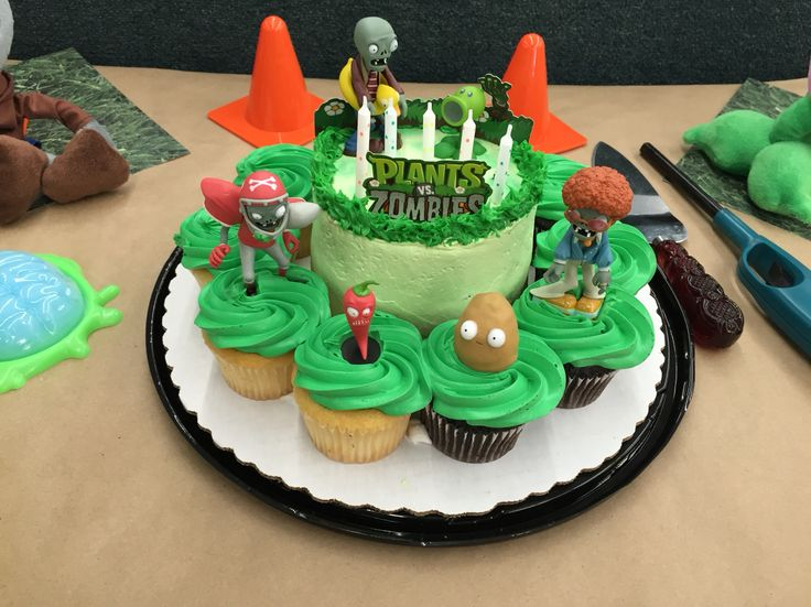I ordered the cake/cupcakes from Sam's Wholesale Club. I simply had them frost the cake with the green frosting. No decorations! I ordered the Plants vs Zombies figures off of Amazon.com. I washed them with dish soap and warm water before applying them to the cake. The toy packages came with the cardboard Plants Vs Zombies sign as part of the packaging design. I simply repurposed it and used it for the front on the cake! I used a can of pre made green frosting to pipe on the easy tall grass…