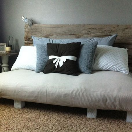@amauger123Day bed I built all by my lonesome. I used two pallets attached some plywood. I wrapped the whole thing with a huge mattress pad I found on clearance and covered it with a drop cloth. The...