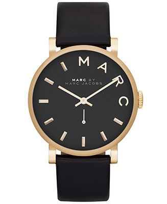 Marc by Marc Jacobs Watch, Women's Baker Black Textured Leather Strap 37mm MBM1269 - Watches - Jewelry & Watches - Macy's