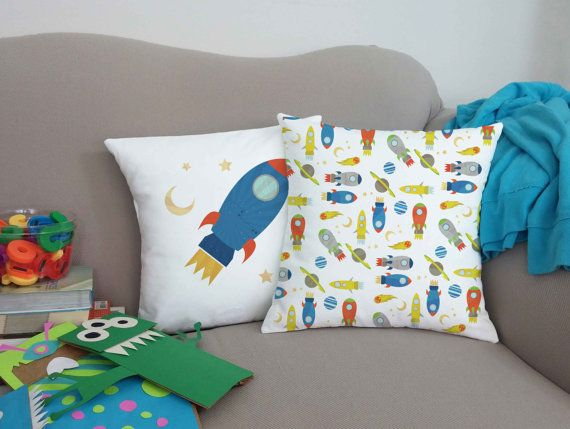 Set of 2 Retro Kids Spaceship Pillows - Rocket Ship Pillow Covers and or Cushion Inserts, Playroom Decor, Kids, Childrens Throw Pillows