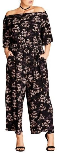 Plus Size Women's City Chic Bamboo Print Jumpsuit