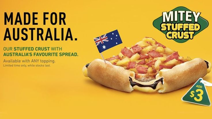 Pizza Hut Australia Will Be Offering a Vegemite Stuffed Pizza Crust #pizzas trendhunter.com