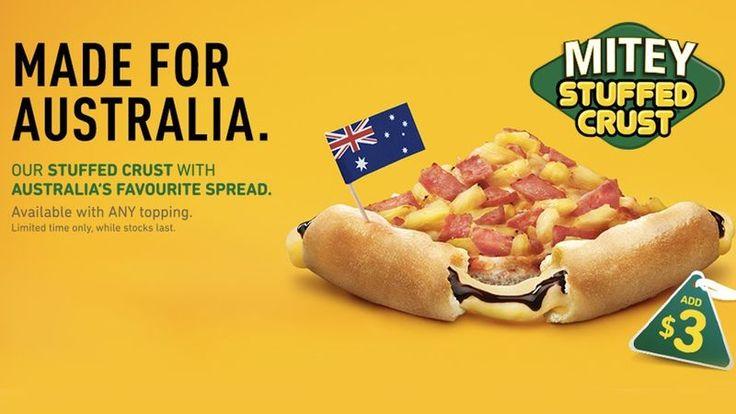 Pizza Hut Australia Will Be Offering a Vegemite Stuffed Pizza Crust #pizzas trendhunter.com