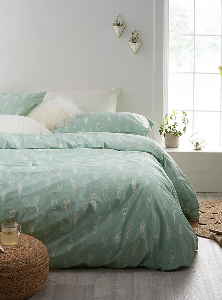 Feathers duvet cover set - Duvet Covers - Lime Green