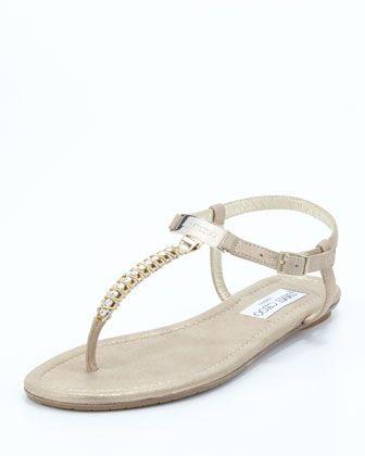 Nox Flat Crystal Thong Sandal, Gold by Jimmy Choo