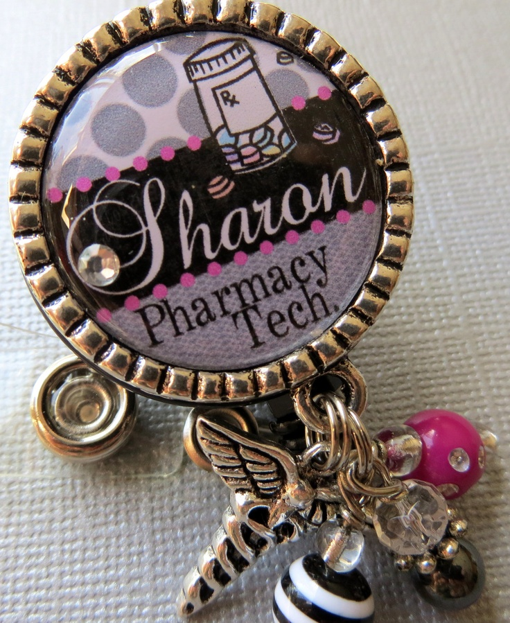 Pharmacy Technician ID Badge Reel Personalized Name