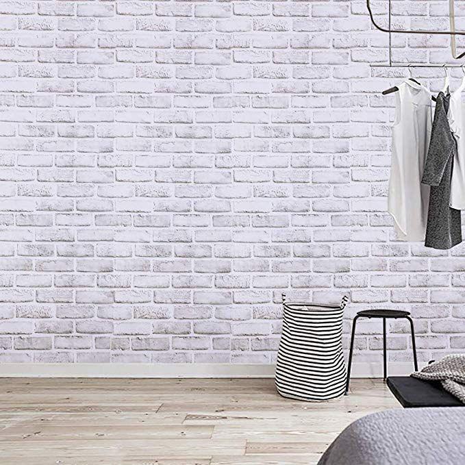 Amazon Com Coavas Decorative Self Adhesive Wallpaper White Grey Brick Decoration Printed Stick Paper Easy To Apply Peel Faux Brick Brick Decor Brick Wallpaper