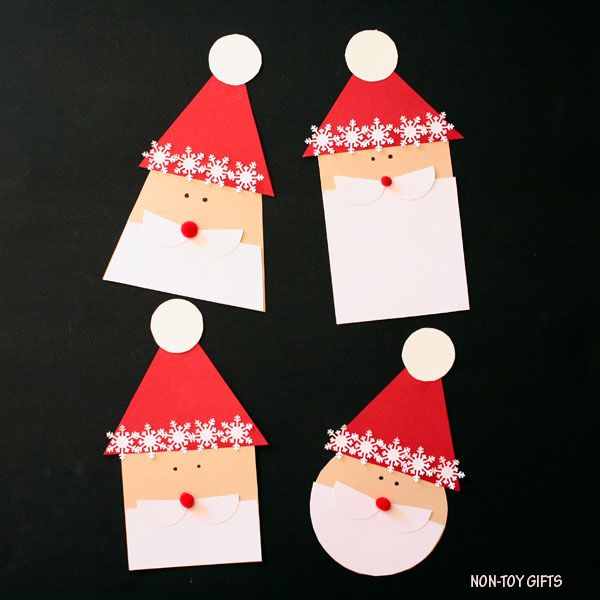 Shape Santa craft for Christmas: circle, rectangle, square and trapezoid. #christmascraft #Santacraft #Christmascraftsforkids