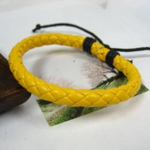 Faux-Leather Braided Bands Yellow - One Size
