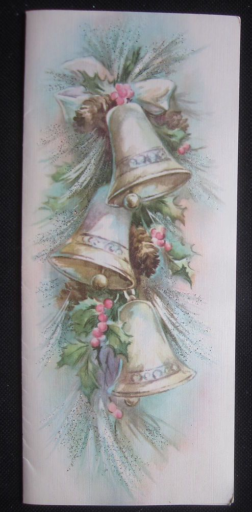 Vintage Christmas Greeting Card Hanging Bells and Holly Mid Century Glitter