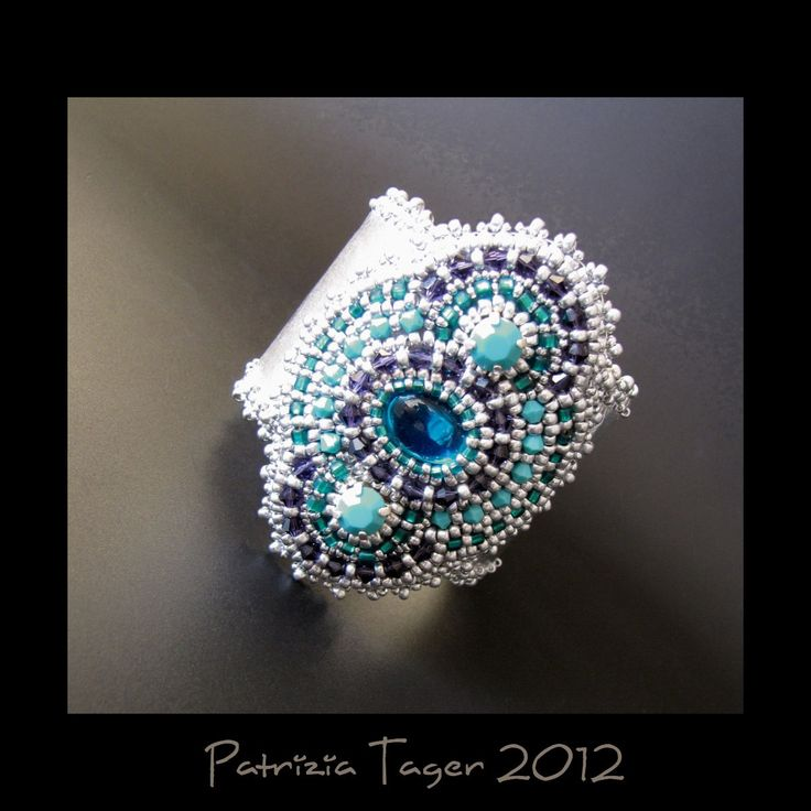 Arctic Lagoon  OOAK Silver Leather Cuff by triz on Etsy, $175.00