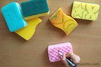 Como pintar con esponjas