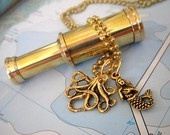 Brass Spyglass Steampunk Necklace Octopus & Mermaid Vintage Inspired Nautical Jewelry Working Spy Glass Telescope Rustic Antiqued Finish