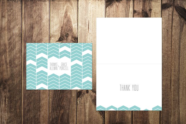 Geometric Print Wedding Thank You Cards by I Do Invites by Sally