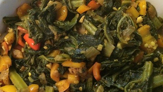 Gomen Wat -- Collards are seasoned with turmeric, paprika, allspice, and ginger in this fragrant variation on a traditional Ethiopian vegetarian dish.
