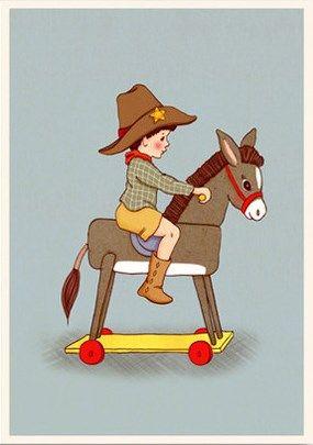 Nostalgisk barnillustration Belle & Boo: pojke och leksaksåsna