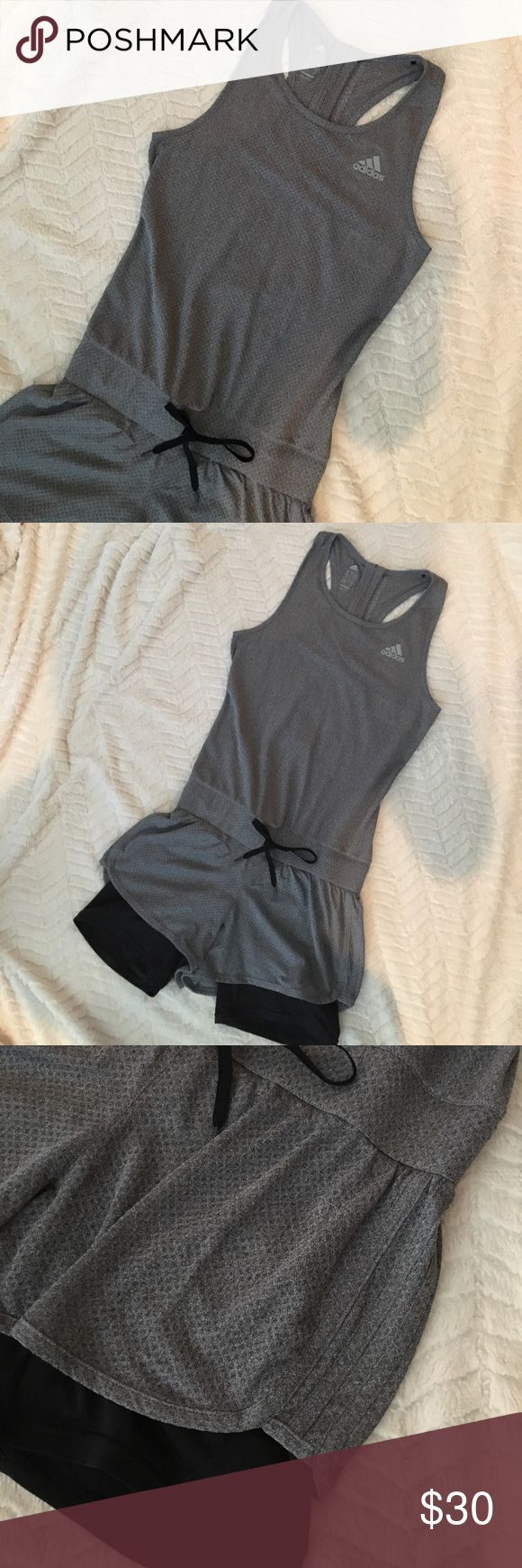 RARE  /// Adidas Romper EUC Climacool running romper. Back zipper with elastic waistband and drawstring. Small back zipper pocket. Built-in spandex legs. Stylish and practical for the fitness junkie. Extra small can fit 0-4. Adidas Other