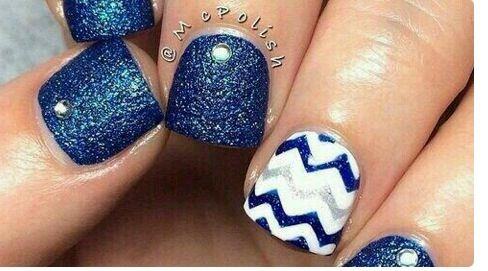 Navy Glitter & Chevron Nails