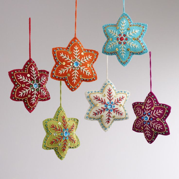 Handcrafted with the finest details, our Embroidered Felt 6-Pointed Star Ornaments include dazzling embroidery, pearl beads, and sequins hand stitched in the vibrant colors and patterns of India.