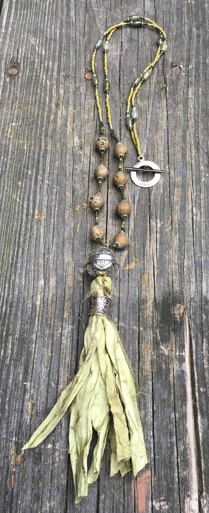 Beaded necklace with olive green druzy agate & jade beads with silk tassel & toggle clasp
