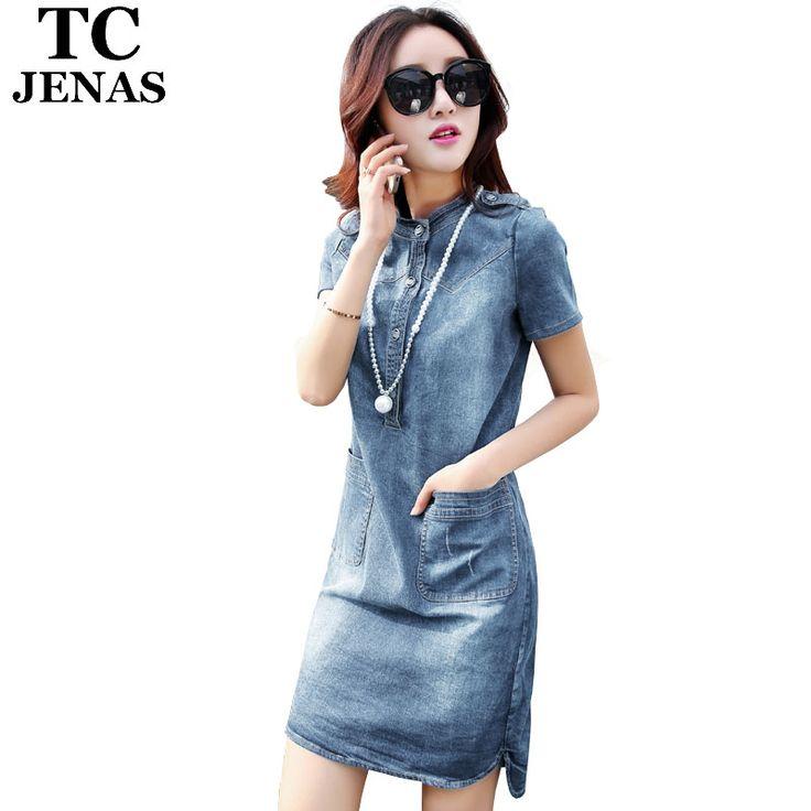 Suelta Denim soporte ocasional del verano,  Vintage Cheongsam con bolsillos y botones dividir Jeans WT00688 en Vestidos de Moda y Complementos Mujer en AliExpress.com | Alibaba Group