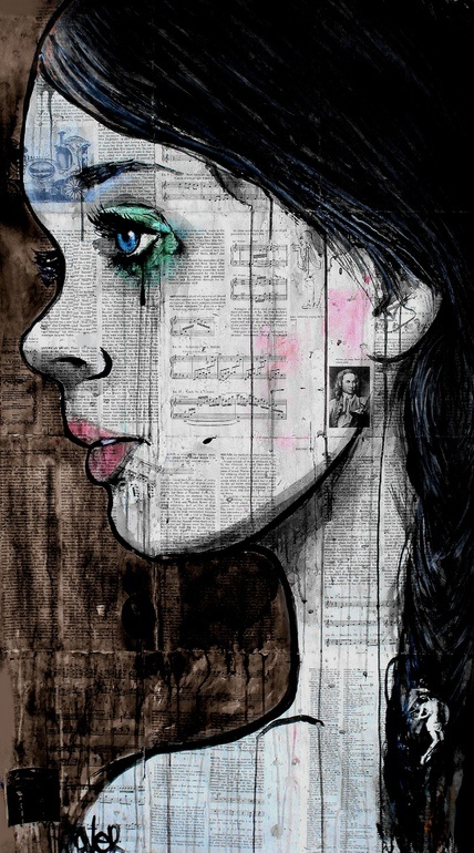 "Saatchi Online Artist: Loui Jover; Pen and Ink, Drawing ""black tear"""