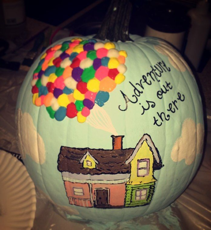 Disney Pumpkin Idea. So easy. Done with paint pens, acrylic paint, and puff paint for the balloons.