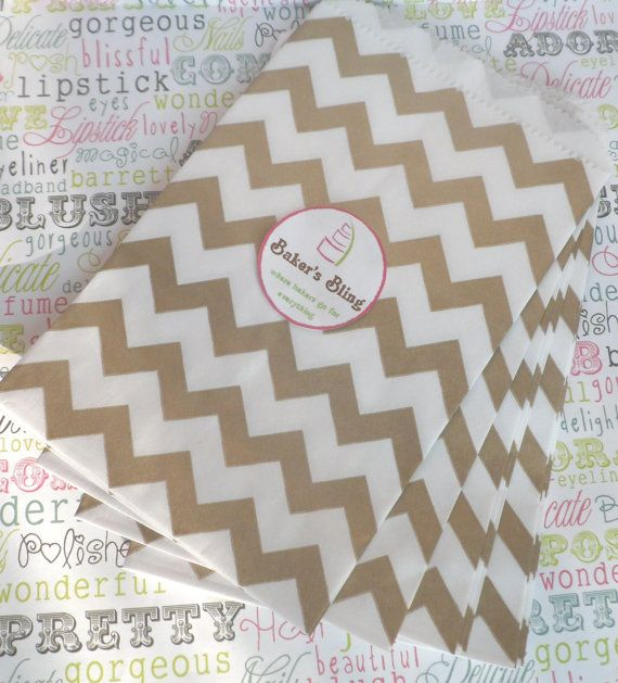 50 Gold Chevron Paper Favor Bags for Candy Buffets, Party Favors and Packaging Gifts