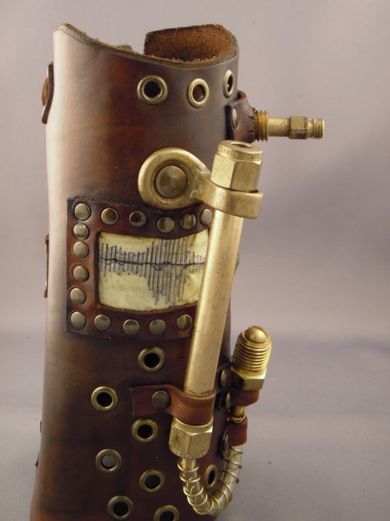 Steampunk leather bracer - Waves   The grommet, Leather ...