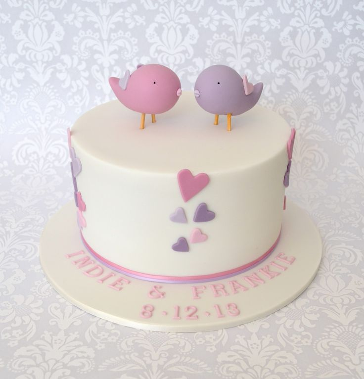 Two little Birdies Girls Christening Cake with pink & purple hearts