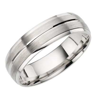 Male wedding band - 18ct White Gold Brushed and Polished Court Ring - Ernest Jones
