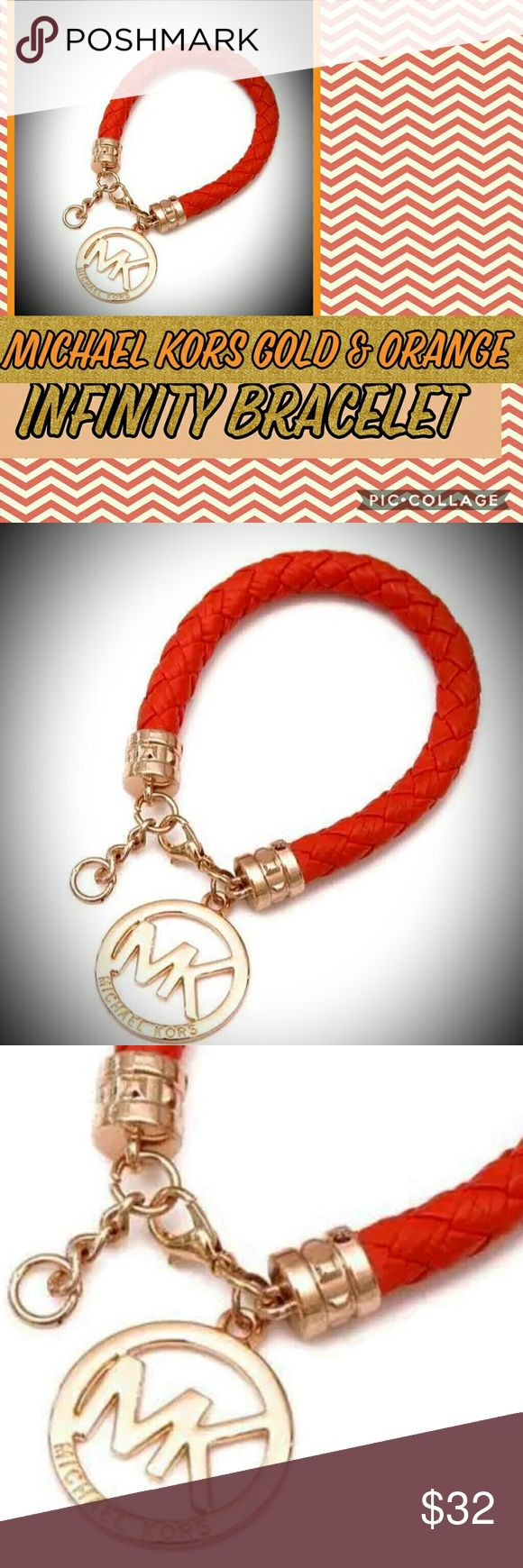"🌺One time offer for tonight. ..$18. No less, 🌺 🌺Brand New Michael Kors Infinity Cuff Bangle Gold Tone & Orange braided Leather Bracelet W/ Logo. 🌺100% Authentic...🌺 ◾Condition: 100% brand new and high quality ◾Style: Bangle ◾Size: This piece measure's 7 1/2"" plus has a 1"" extension if needed ◾Material: Leather ◾Quantity: 1 Michael Kors Jewelry Bracelets"