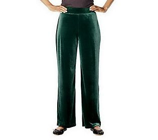 Susan Graver Stretch Velvet Wide Waistband Pants Petite Length