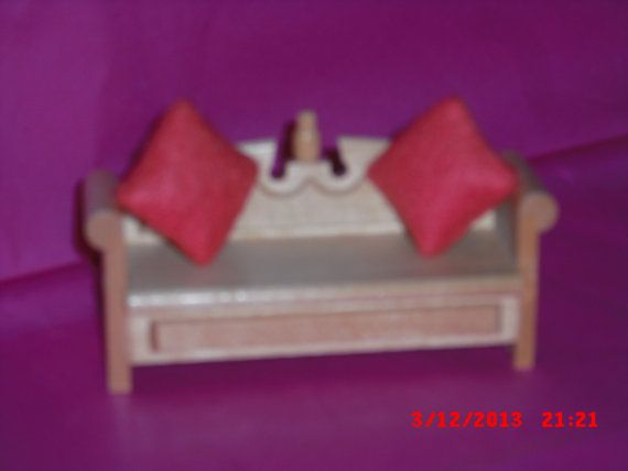 Lundby dolls house Bench with two pillows by VintageLundbyLove, £8.00