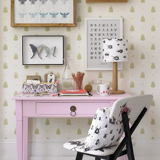 Nature-inspired home office with pink desk | Country home office design ideas | Home office | PHOTO GALLERY | Country Homes and Interiors | ...
