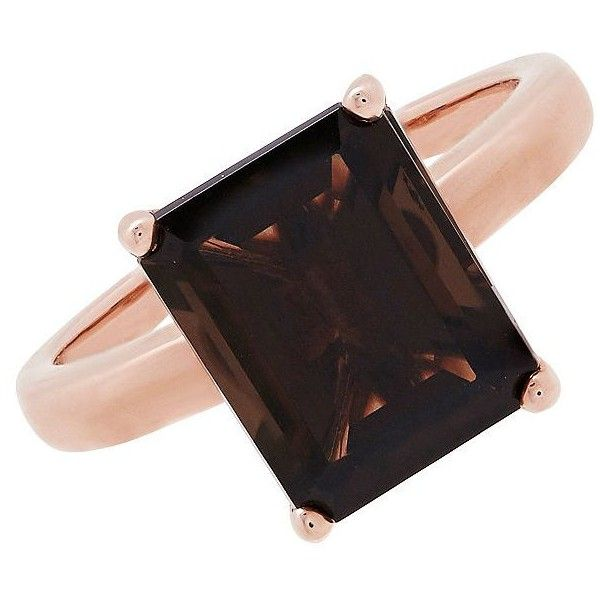 Lord & Taylor Smokey Quartz and 14K Ring ($473) ❤ liked on Polyvore featuring jewelry, rings, rose gold, 14k jewelry, emerald cut ring, 14 karat gold jewelry, fine jewelry and 14 karat gold ring