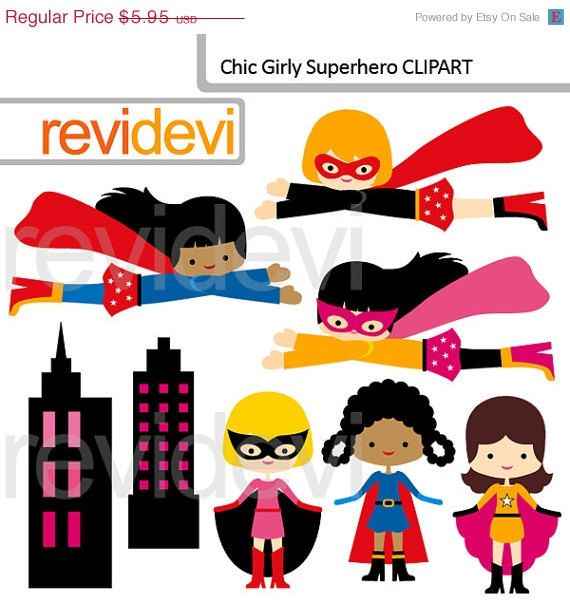 Cute girl super hero clipart. Flying superheroes, standing superheroes, and buildings. Great for creating kids theme projects such as for party