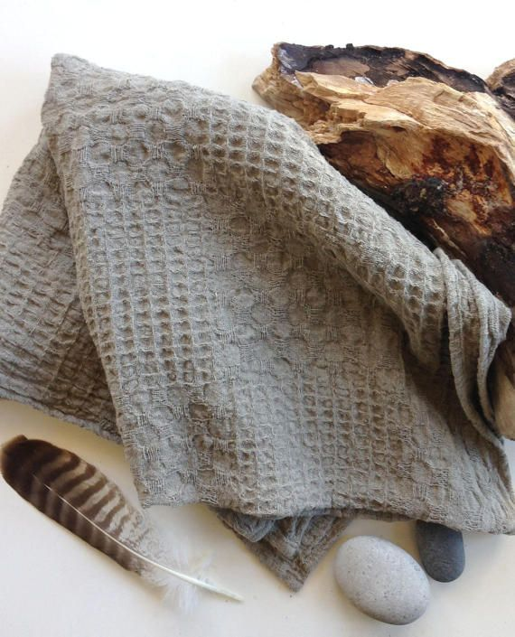 Taupe Linen Bath Towel, heavily textured waffle fabric, bathhouse towels, SPA massage, beach towels, rustic style, natural living