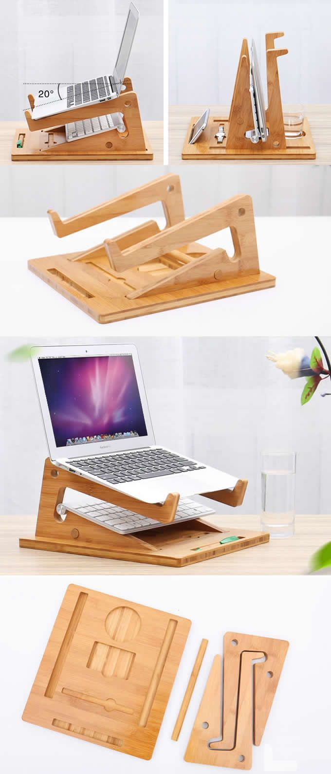 Macbook Air Pro Bamboo Desktop Stand Holder Office Desk Organizer Base For Tablet Laptop Desk Organization Diy Diy Desk Desk Organization Office