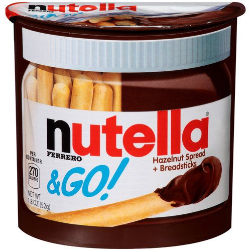 Nutella & GO! Hazelnut Spread + Breadsticks, 1.8 oz (00009800800056) Nutella & GO! Hazelnut Spread + Breadsticks: Enjoy the great taste of Nutella anytime, anywhere 270 calories per container