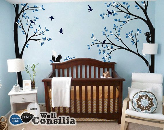 Tree Wall Decal -  Nursery Wall Decoration - Tree Wall Sticker - Corner Tree decal - Set of Two trees - KC026