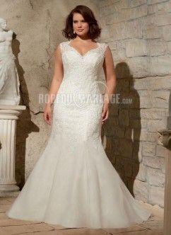 Col en v robe de mariée grande taille dentelle organza traîne courte