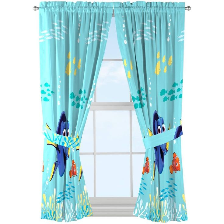 Window Drapes Curtains Finding Dory Disney Kid Set of 2 Kid Room Decorate Young #FindingDorysCurtains