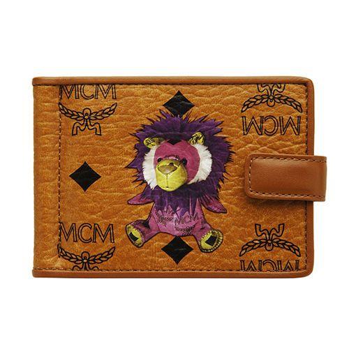 Genuine NWT MCM Visetos Lion Money Clip Wallet Purse MYC2AVI01CO