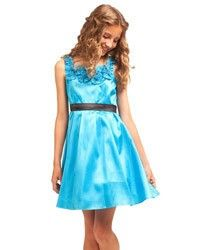 Turquoise Girls Party Dress with Square Rosette Neckline