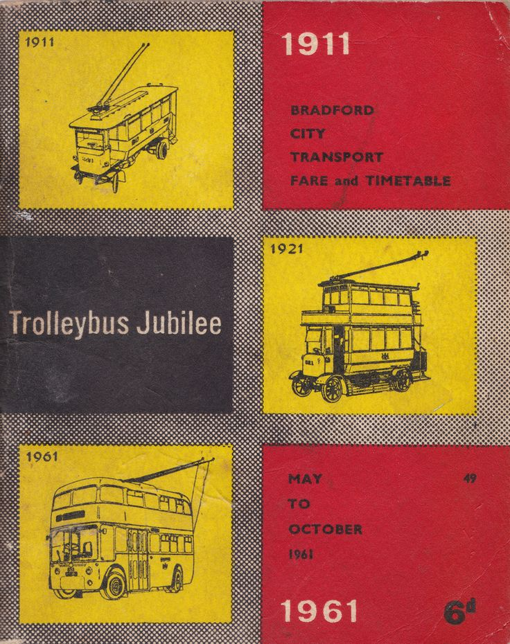 Alle Größen | Bradford City Transport - fare and timetable booklet cover, May 1961 - Trolleybus Jubilee, 1911 - 1961 | Flickr - Fotosharing!