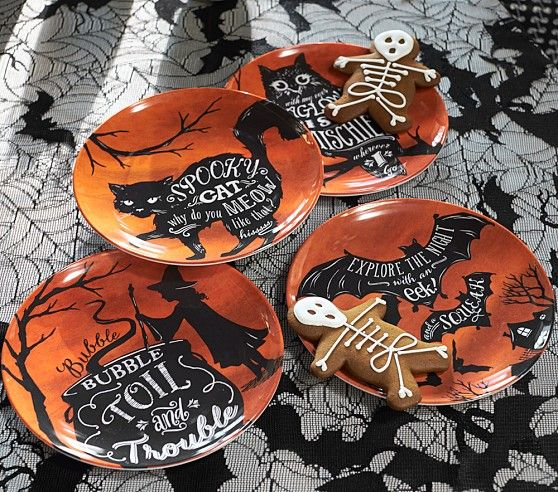 shop pottery barn kids for kids halloween plates tablecloths placemats and more find everything you need to host a spirited party - Halloween Ceramic Plates